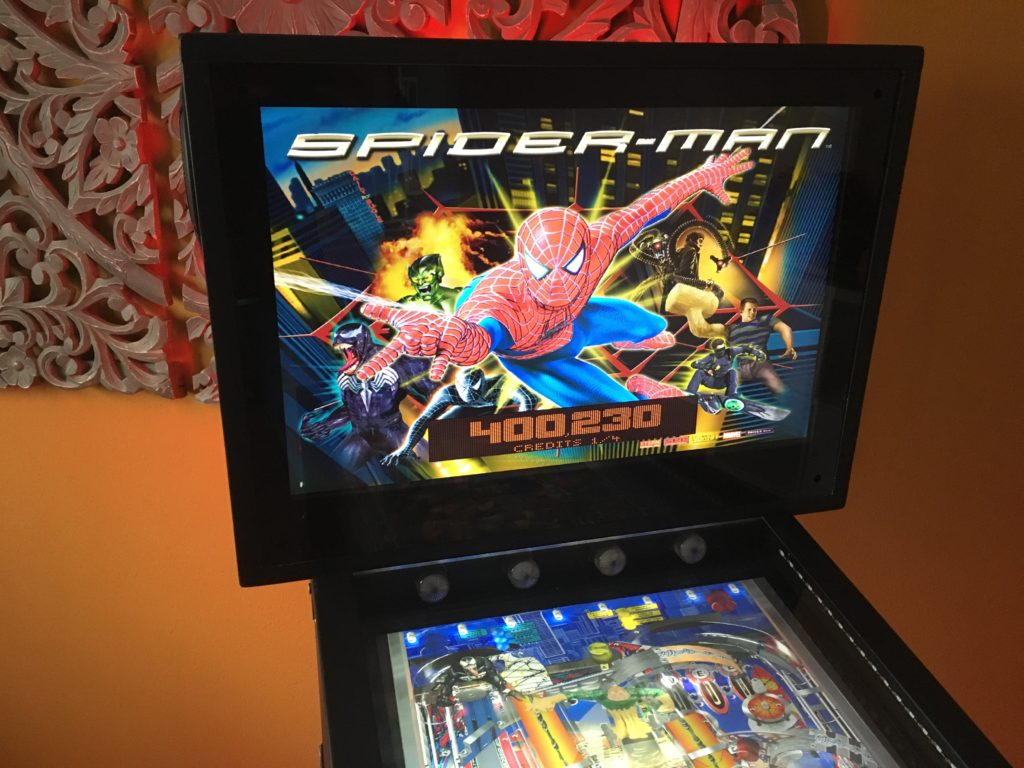 "Backbox of a Virtual Pinball with the table ""Spiderman"""