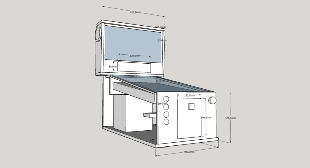 CAD drawing of my Mid-Size Virtual Pinball in Sketchup 3D. Two Monitors with Playfield 31′, Backbox 19′.