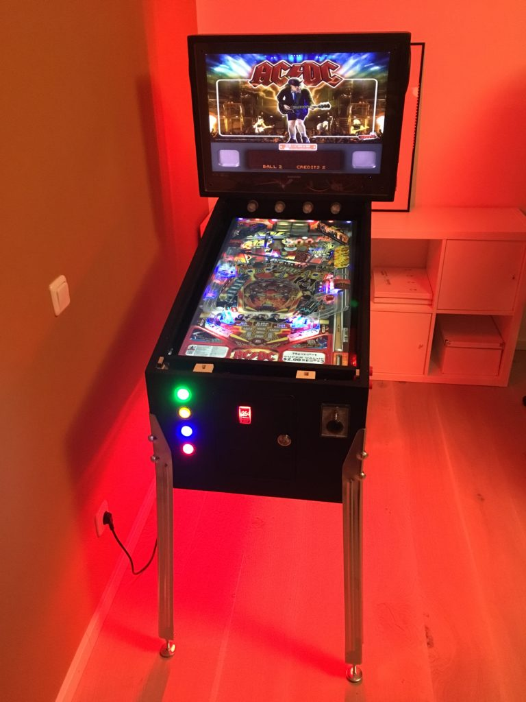 Virtual Pinball Cabinet with red ambient lighting with addressable RGB LED stripes. Table: AC/DC under Visual Pinball X