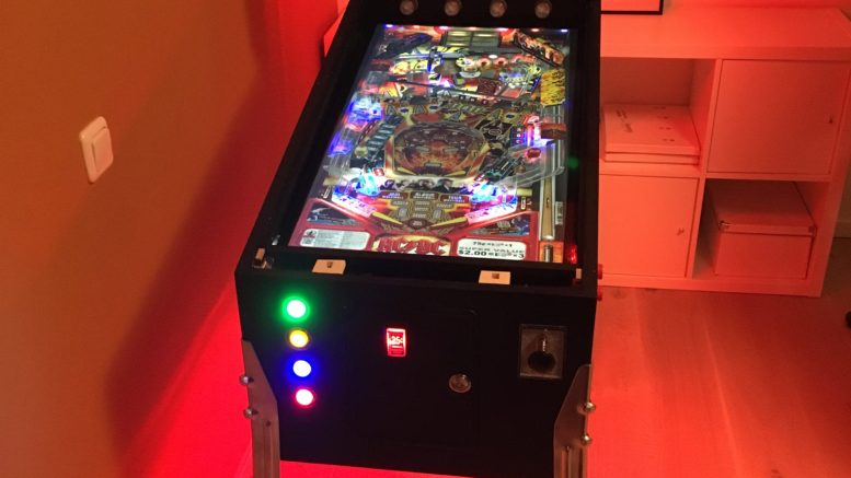 Virtual Pinball Cabinet with red ambient effect using addressable RGB LED stripes run by Teensy 3.2 controller board. Table: AC/DC on Visual Pinball X