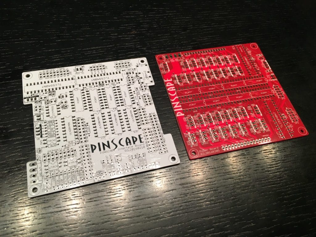 (Frontside) PINSCAPE expansion board set: mainboard (white) and power board (red)